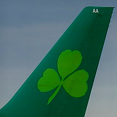 County Clare - Shannon Airport - Shamrock on Tail of Aer Lingus Aircraft