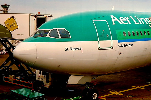County Clare - Shannon Airport - Saint's Name (Keeva) on Nose of Aer Lingus Aircraft