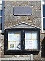 SX8255 : Village notices and a World War II memorial plaque, Cornworthy village hall by Robin Stott