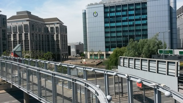 View over roads and bridges from East India DLR station platform