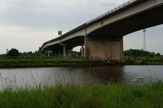 The A19 goes over the River Tees
