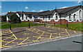 ST0381 : Yellow road markings near Pontyclun Community Centre by Jaggery