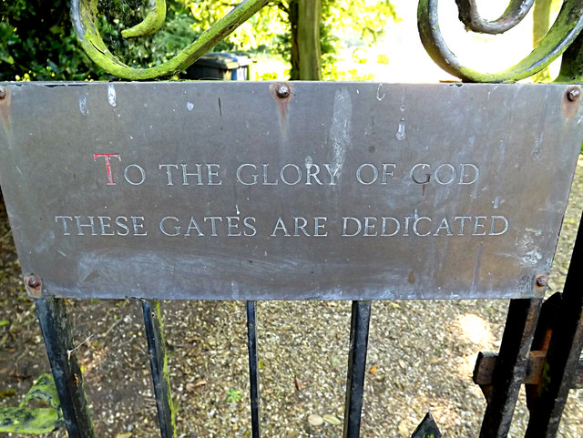 Plaque on the gates of St. Peter's Church