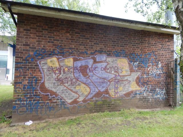 Graffiti on building in Alderman Road recreation ground