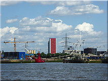 TQ3980 : Cranes and Lightship on North Bank of The Thames by Christine Matthews