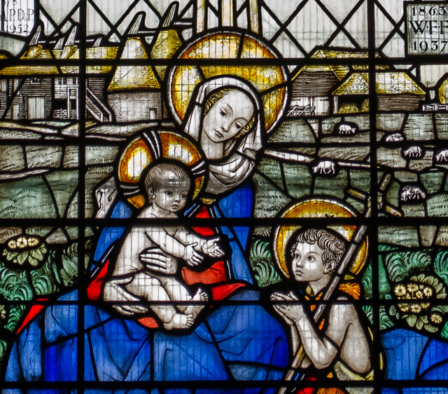 Detail, Stained glass window, St Mary's church, Northiam
