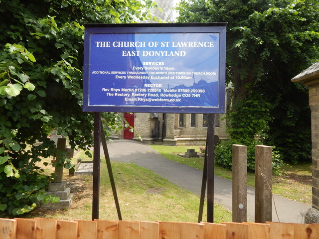 St Lawrence Church, East Donyland sign