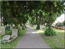 TM0321 : Path in St Lawrence Churchyard, East Donyland by Hamish Griffin
