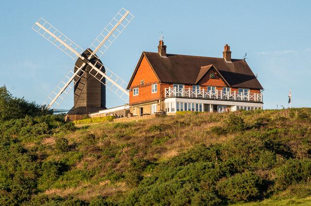 Reigate Heath Windmill and Reigate Heath Golf Club clubhouse