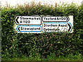 TM0859 : Roadsigns on the A1120 Bell's Lane by Adrian Cable
