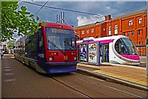 SO9198 : Midland Metro trams nos. 16 & 20 at St. Georges, Bilston Street, Wolverhampton by P L Chadwick