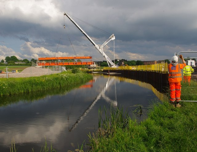 Temporary bridge over Lancaster Canal
