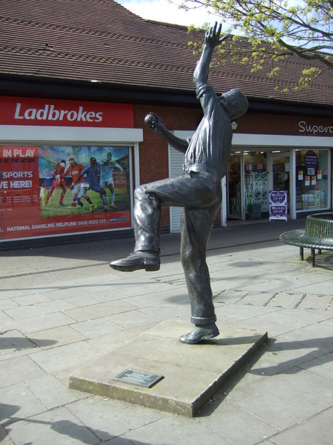 Statue of Harold Larwood, Kirkby Market Place