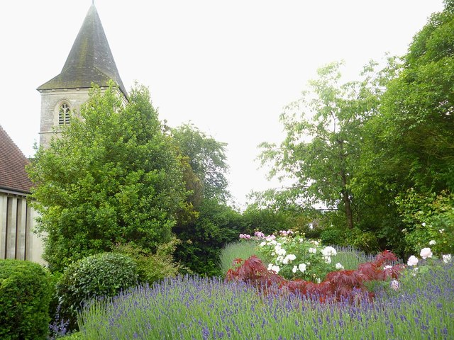 Quiet garden of St Mary's Church Overton