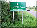SO8581 : Staffordshire county boundary sign by Chris Whippet