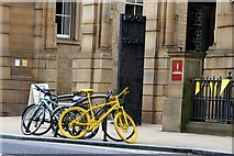 SK3587 : Yellow bikes promoting 'Le Grand Départ' : Leopold Square by Graham Hogg