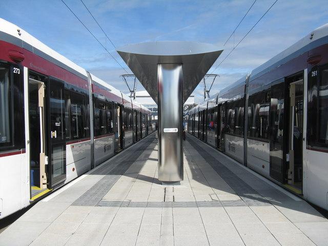 Trams at the terminus