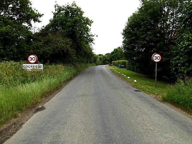 Entering Cockfield on Felsham Road