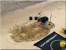 TQ3180 : South Bank sand sculptor, London by Paul Harrop