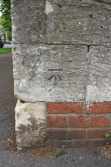 Benchmark on wall pier at Oxford Road/Hightown Road junction