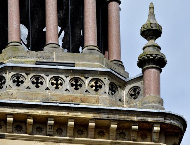 Tower detail, the Elmwood Hall, Belfast (June 2014)
