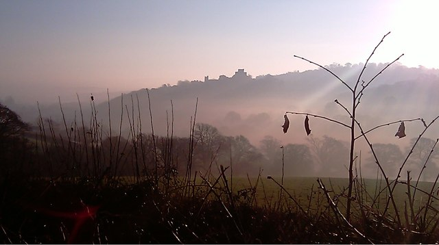 Launceston Castle in the mist