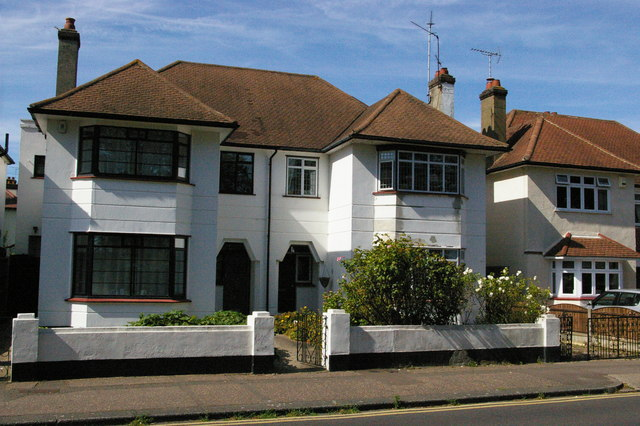 Seaside semi-detached suburbia, Northumberland Crescent, Southchurch, Southend-on-Sea