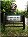 TL8146 : Cavendish Village Name sign on the A1092 Melford Road by Adrian Cable