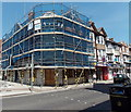 SY6779 : Corner under netting and scaffolding in Weymouth by Jaggery