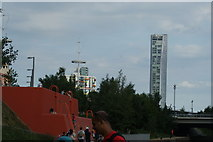 TQ3884 : View of towerblocks on Stratford High Street and Warton Road from Queen Elizabeth Olympic Park #2 by Robert Lamb