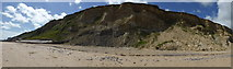 TG2142 : Panorama of cliffs at Cromer - with and without defences by ruth e
