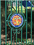 SK3770 : Chesterfield - Queen's Park - civic shield on south gate by Dave Bevis