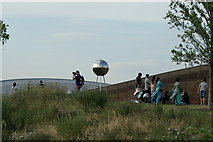 TQ3785 : View of a reflective ball at the top of the hill in Queen Elizabeth Olympic Park by Robert Lamb