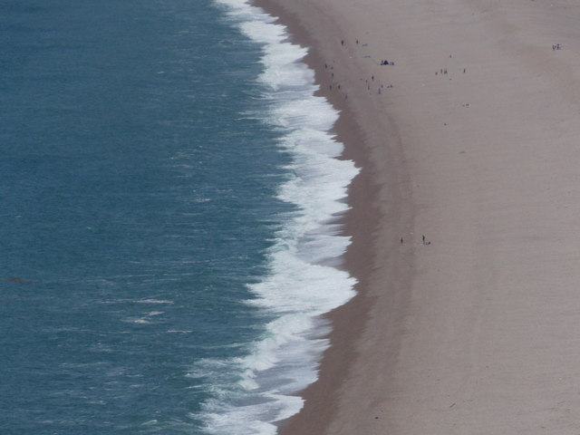 Chesil Beach: people and waves