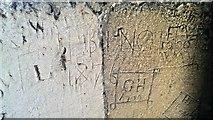 SP0202 : Old graffiti, St John's Church tower, Cirencester by Brian Robert Marshall