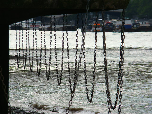 View of the chains hanging from the side of the South Bank from the Thames Beach