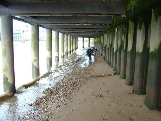 View along the underside of the South Bank from the Thames Beach #2