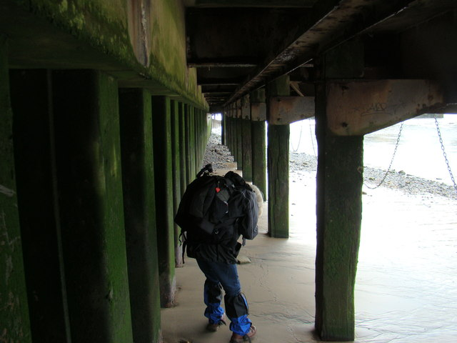 View along the underside of the South Bank from the Thames Beach #3
