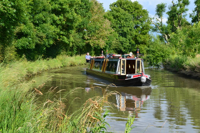 Narrowboat on Grand Union Canal just north of Weedon Bec