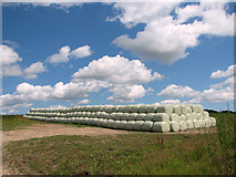 TM4077 : Silage bales stacked in field beside Blyford Lane by Evelyn Simak