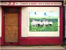 SO2956 : Boarded up Sheep...err...Shop by Des Blenkinsopp