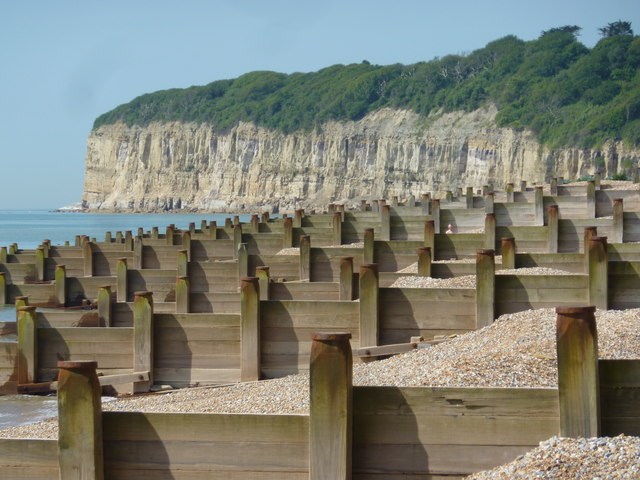 Groynes, shingle and cliff end