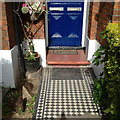 TQ3276 : Tiled front path and builder's nameplate, 71 Grove Lane, Camberwell by Robin Stott