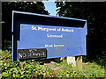 TM3377 : St.Margaret of Antioch Church sign by Adrian Cable