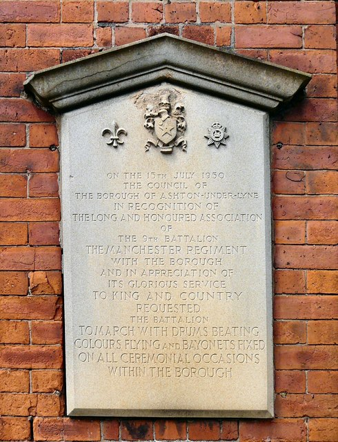 9th Battalion of the Manchester Regiment recognition tablet