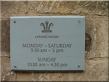 ST8993 : Highgrove shop opening hours sign Long Street Tetbury by Paul Best