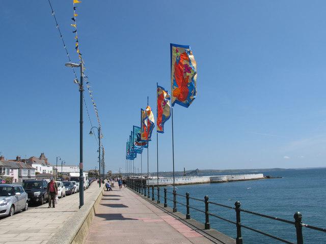 Golowan flags on Penzance West Promenade