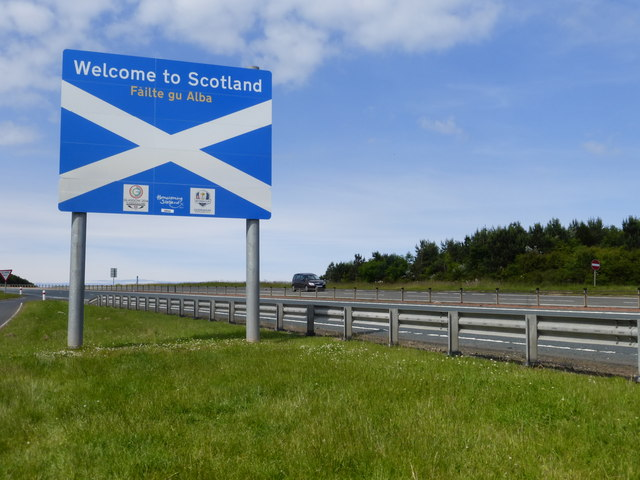 Welcome to Scotland sign on the A1