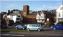SX9192 : West Gate with St Mary's Church in Exeter by Clint Mann