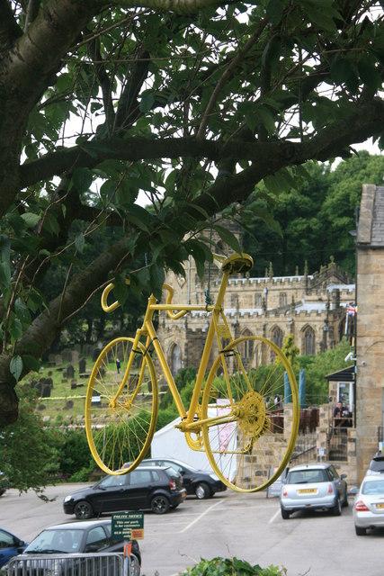 Hanging bike celebrating 'Le Grand Départ'